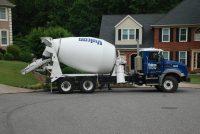 heavy concrete truck on the street