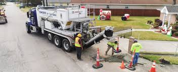 heavy volumetric site mix truck on the street